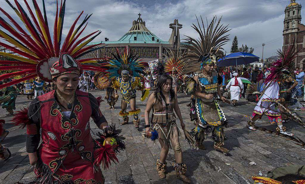 Traditional dancers at the Basilica of Guadalupe in Mexico City