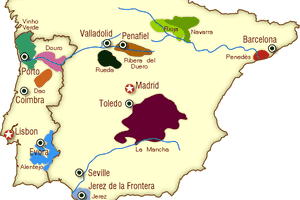 spain wine map, portugal wine map