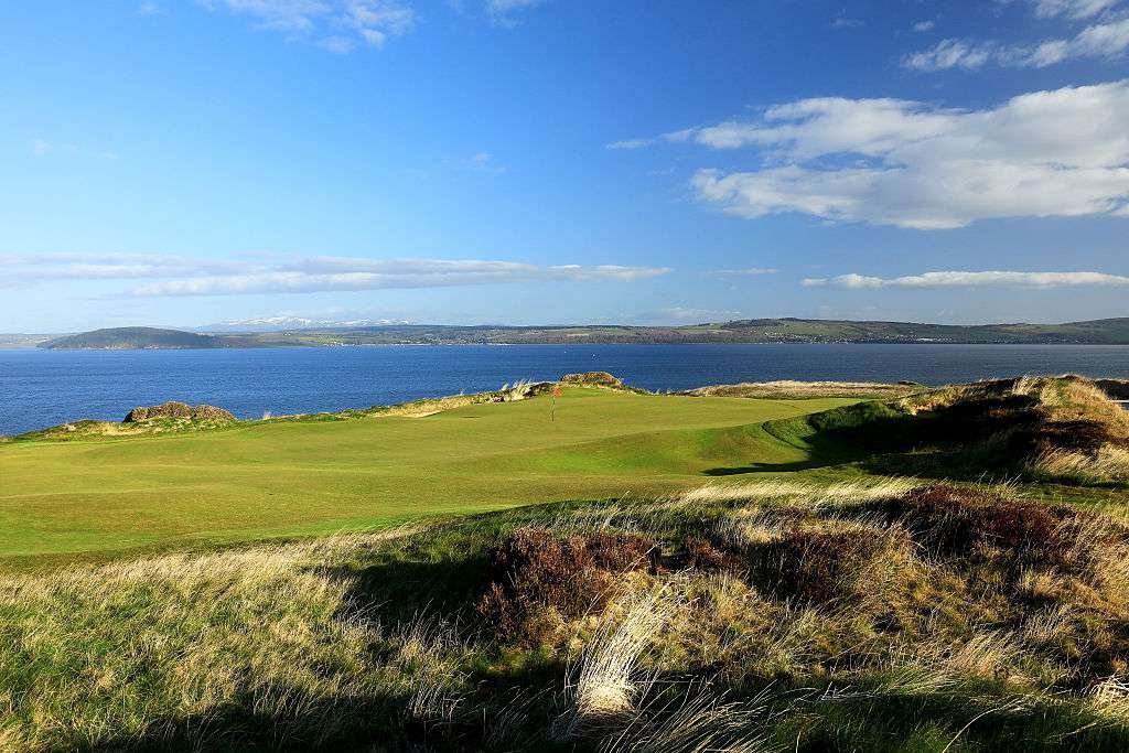Castle Stuart Golf Links with water in the distance