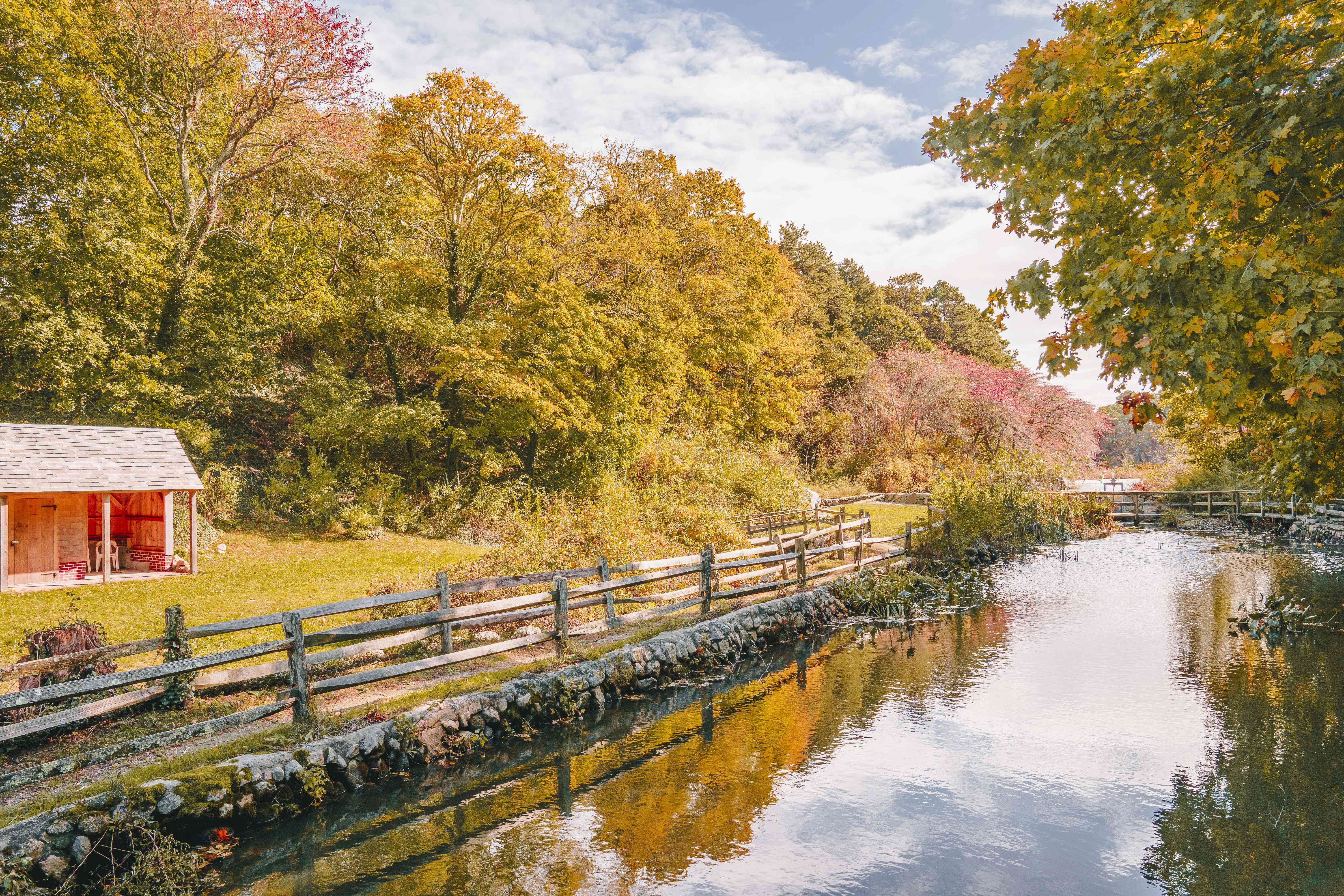 Photo of a river lined with trees with colorful leaves and a small wooden shed