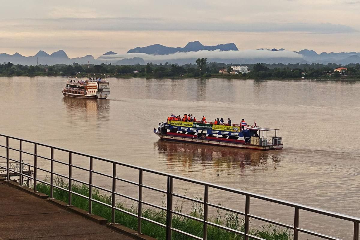 Cruise boats on the Mekong off Nakhon Phanom