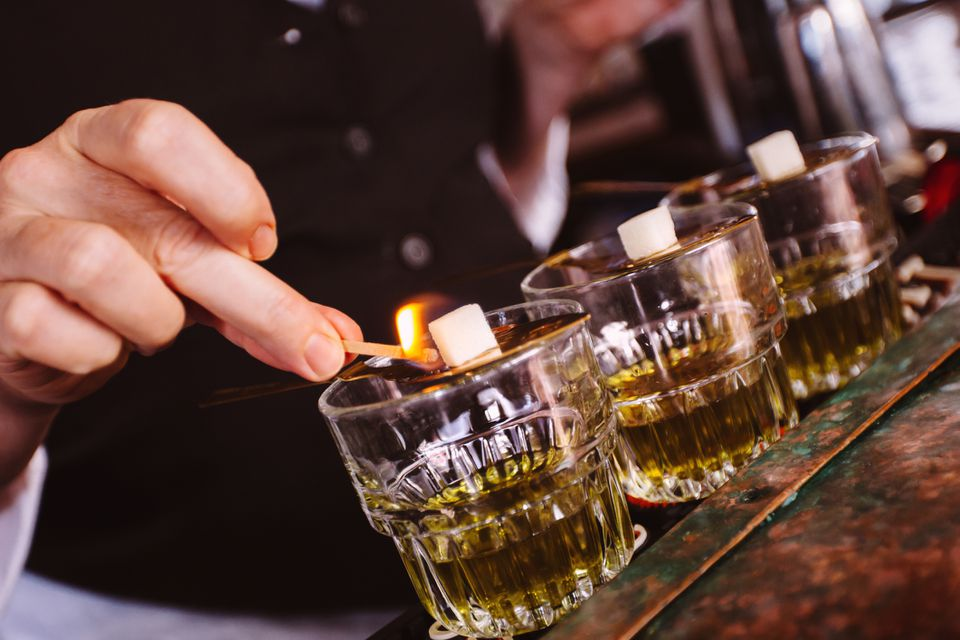 Sugar Cubes Lit Aflame and Placed in Absinthe