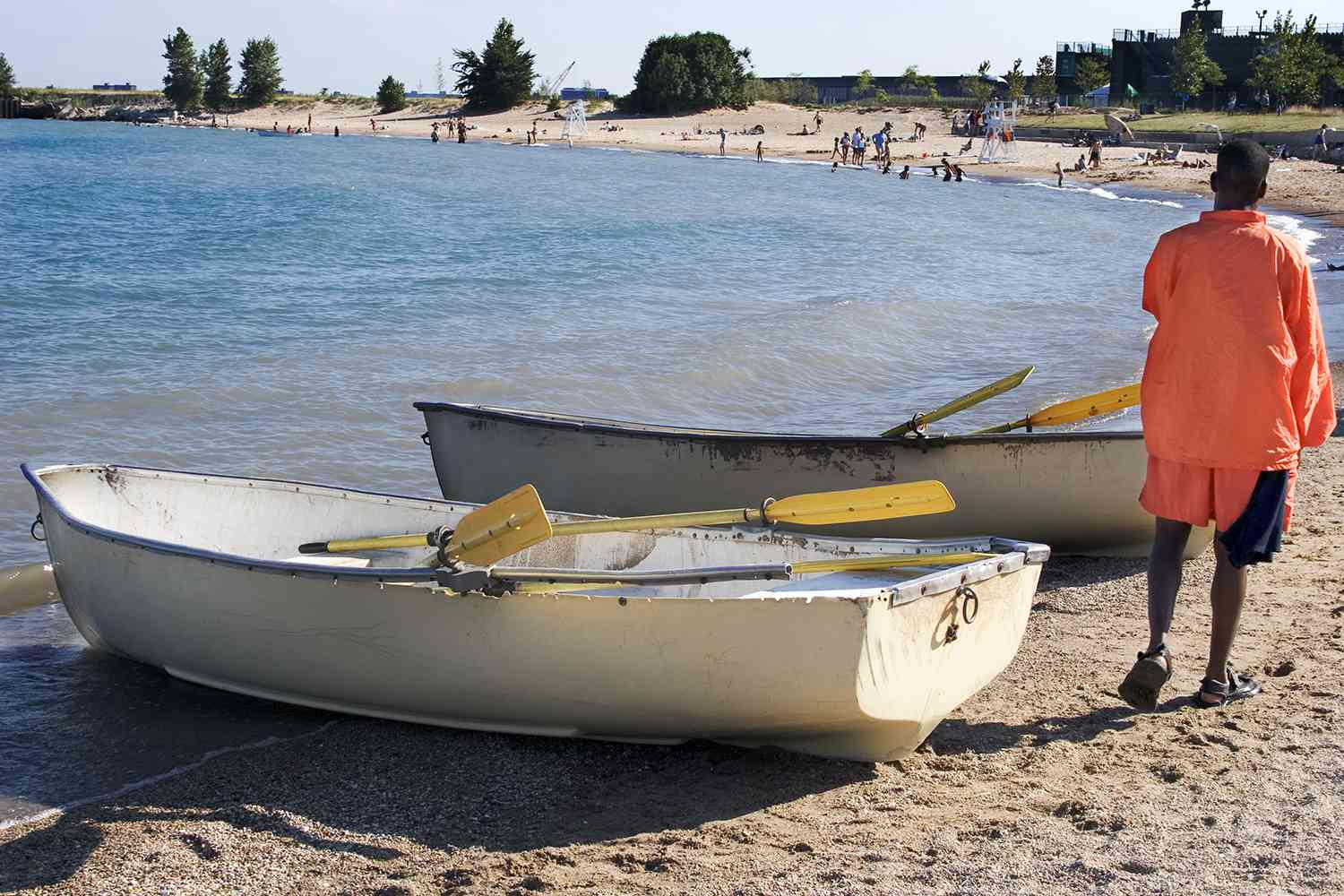 Boats on the shore at 12th Street Beach in Chicago
