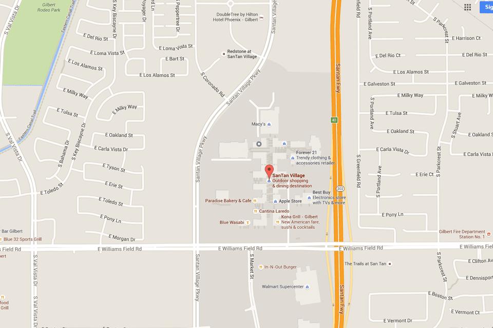 Map Of Arizona Gilbert.Santan Village Map With Directions Address
