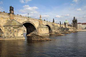 Charles Bridge over the River Vltava in Prague, Czech Republic