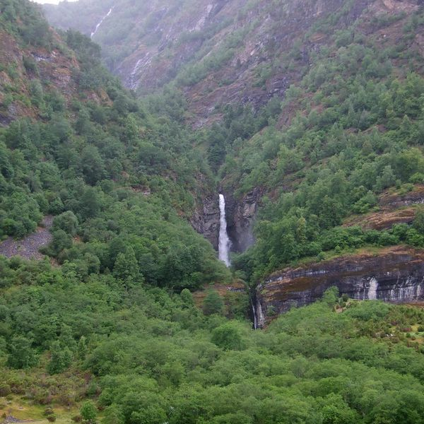 Waterfall at Flam, Norway in the Aurlandsfjord