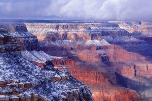 Arizona, Grand Canyon with snow, South Rim