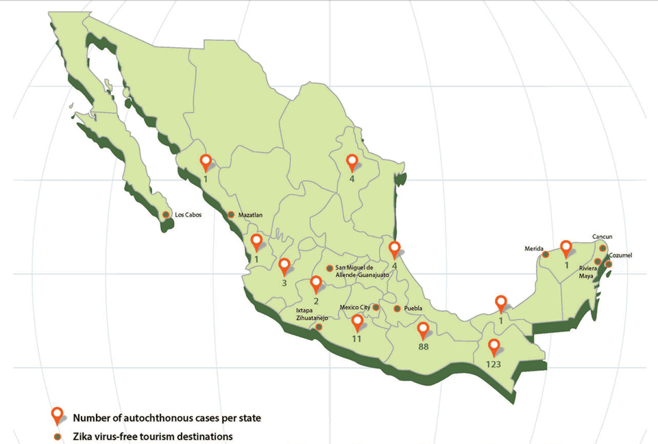 Map showing distribution of Zika in Mexico