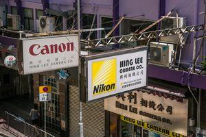 Signs for camera stores in Hong Kong.