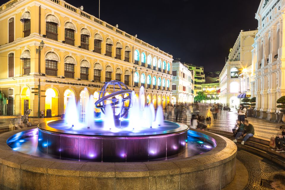 Famous fountain on the Largo do Senato, or Senate square, in the heart of Macau