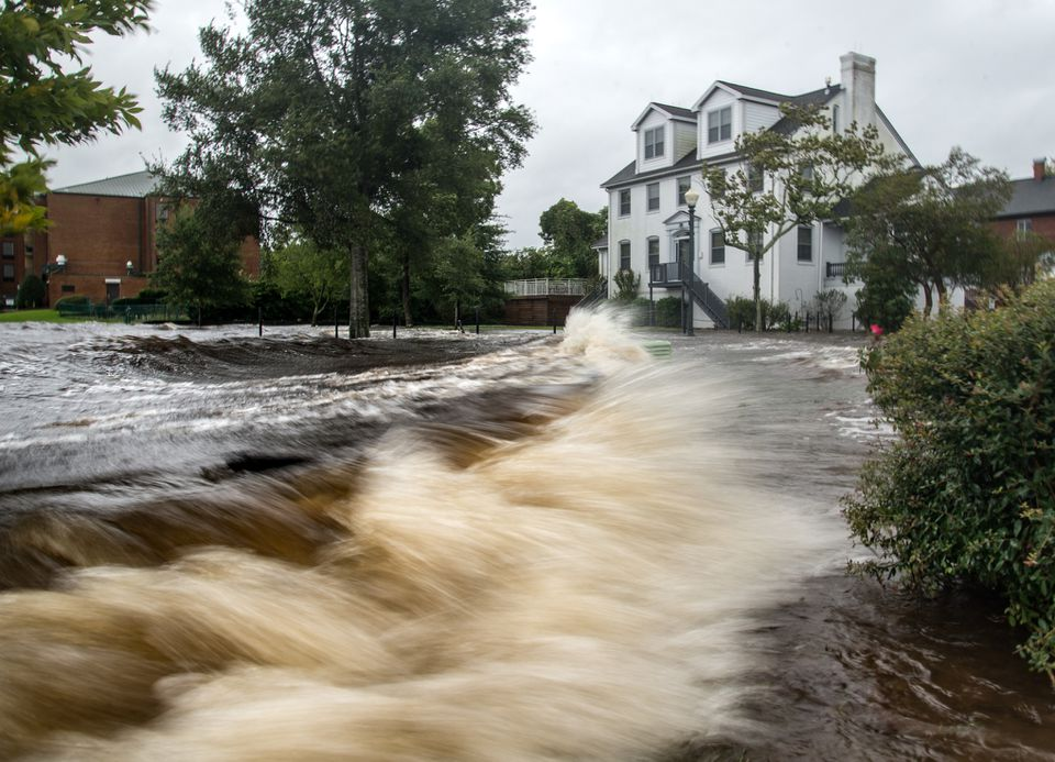 Flooding in New Bern, NC caused by Hurricane Matthew