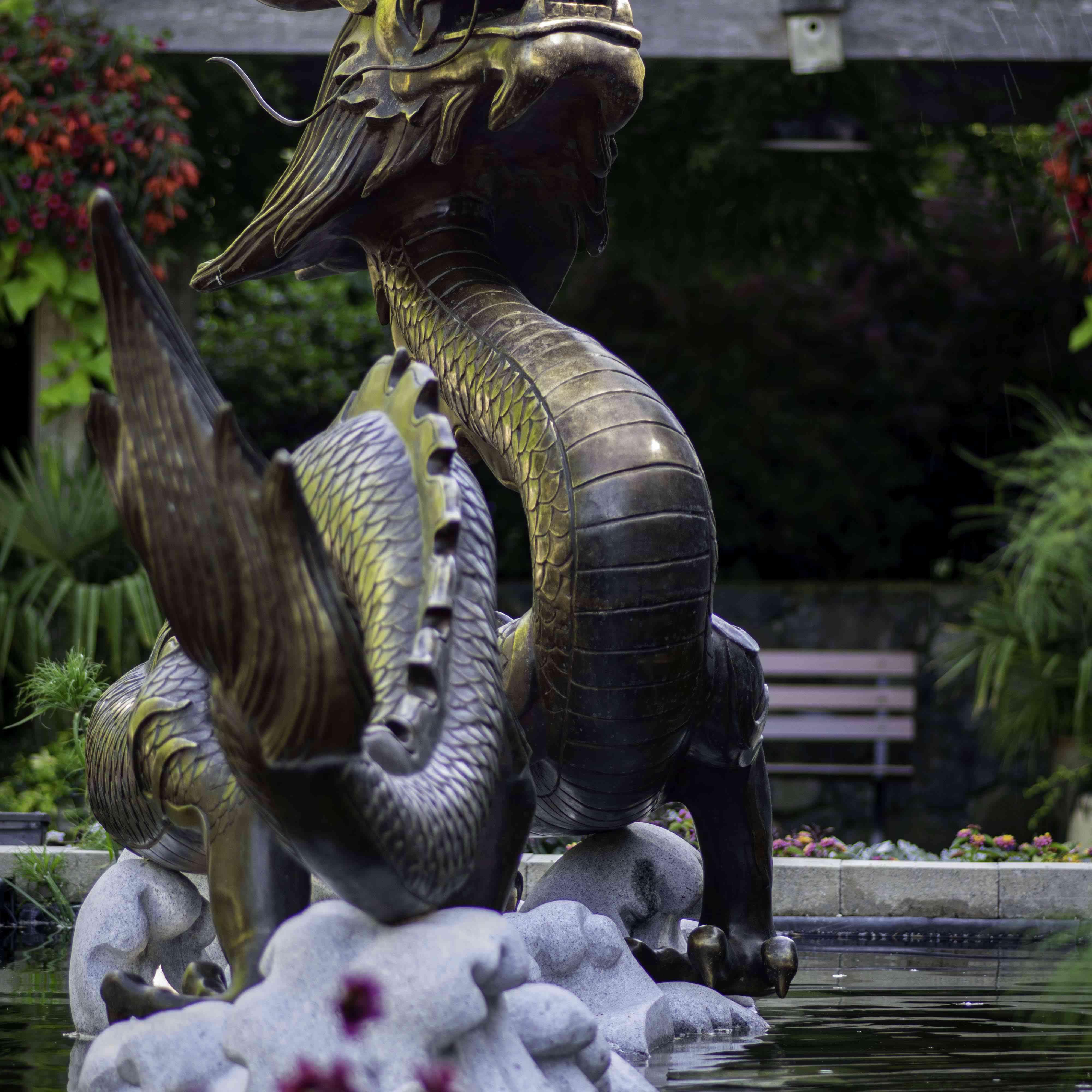 A dragon statue fountain at Butchart Gardens