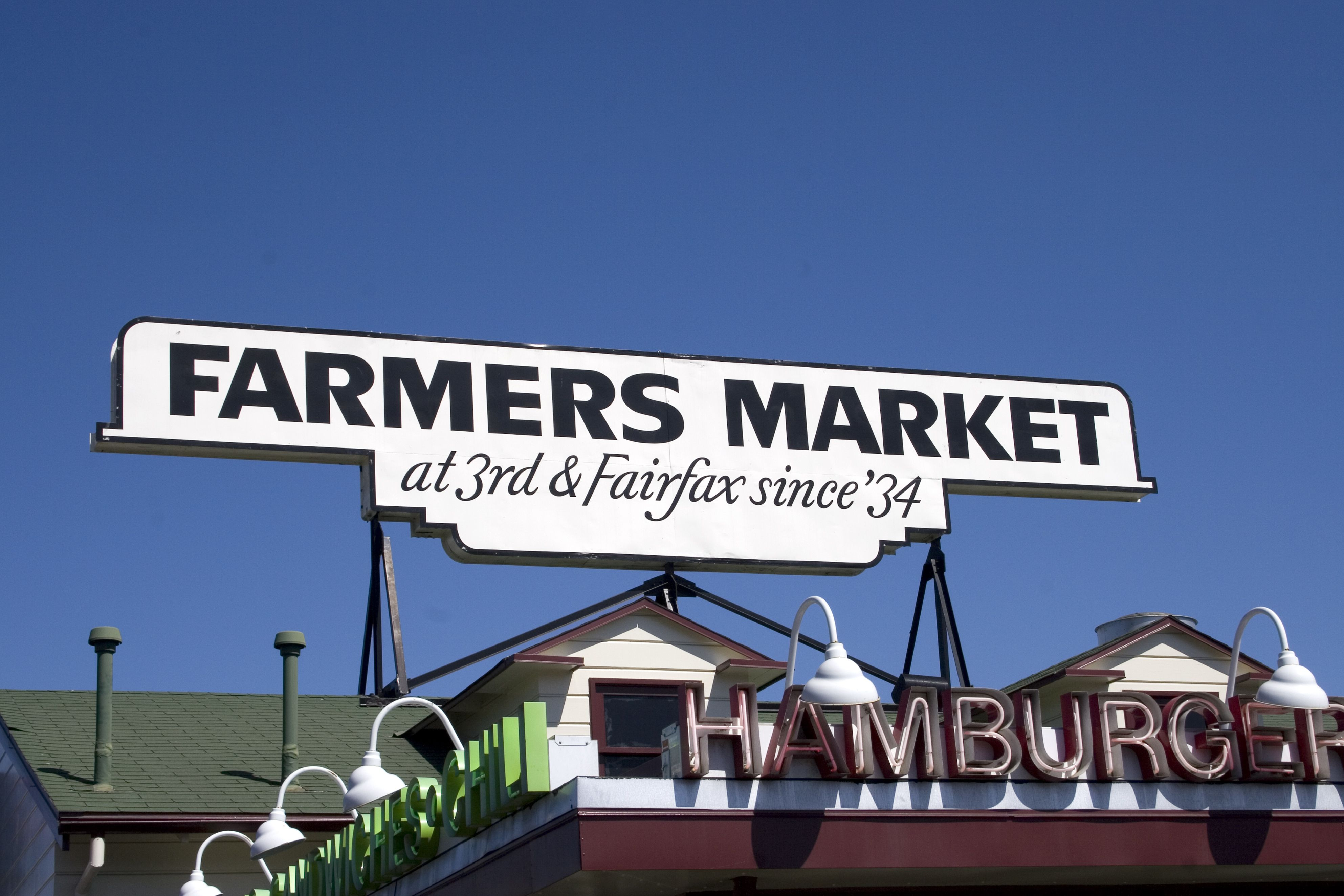 Sign for Farmers Market on Fairfax Avenue at The Grove Los Angeles shopping centre.