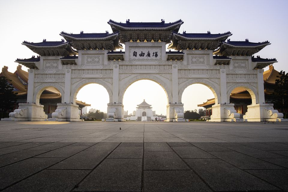 Chiang Kai Shek Memorial Hall sunrise in Taipei, Taiwan