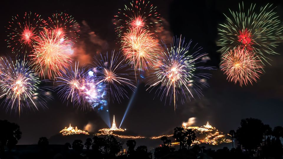 Fireworks display on a hill
