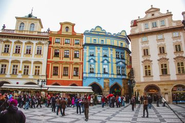Colorful buildings in the main square in Prague