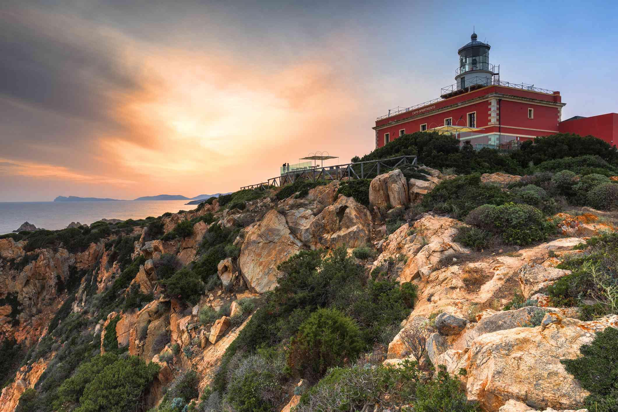 Sunset from the lighthouse of Capo Spartivento, Domus de Maria, Cagliari province, Sardinia