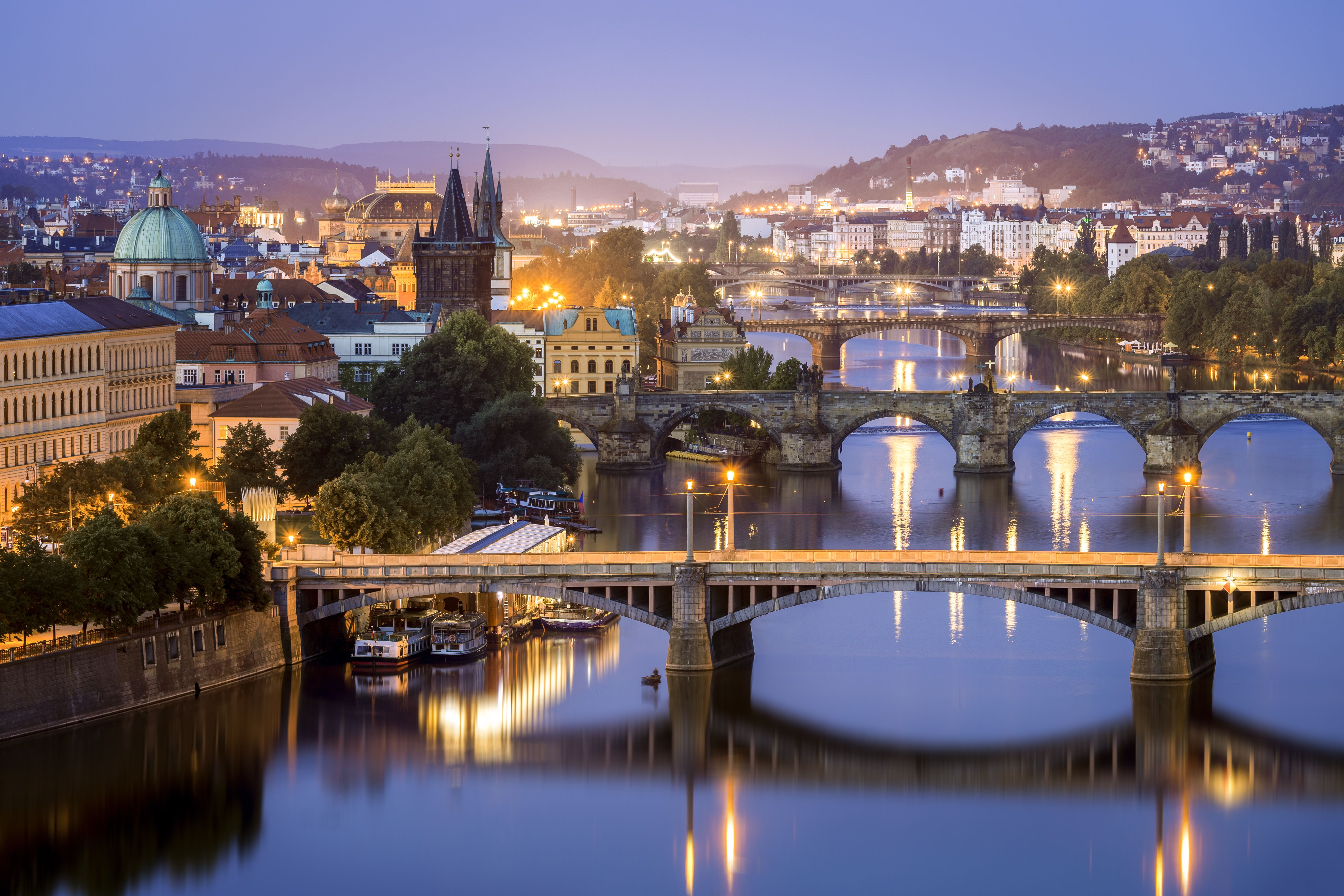 Blaue Stunde, Brücken, Moldau, Prag, Tschechische Republik