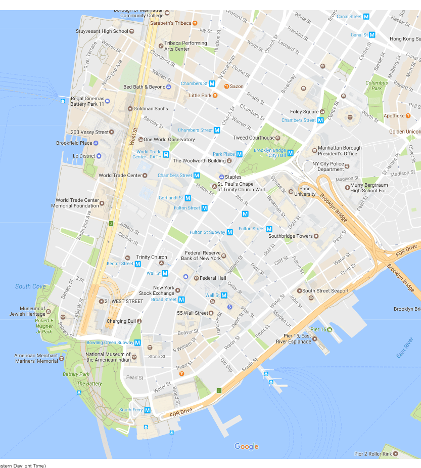 Map of Battery Park & the Financial District, New York City