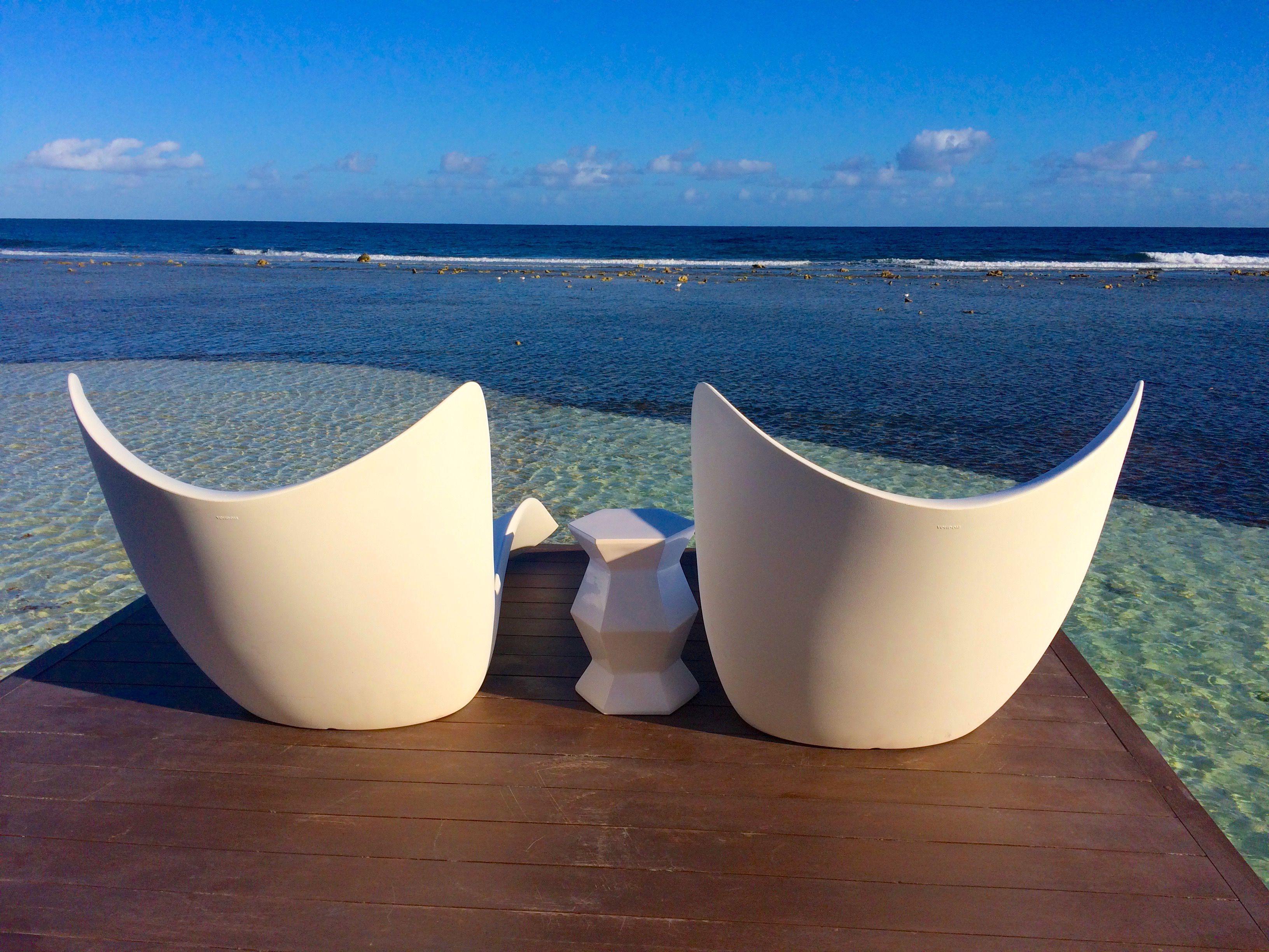 Overwater villa lounge chairs