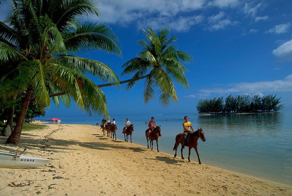Horseback Riding on Beach of Moorea