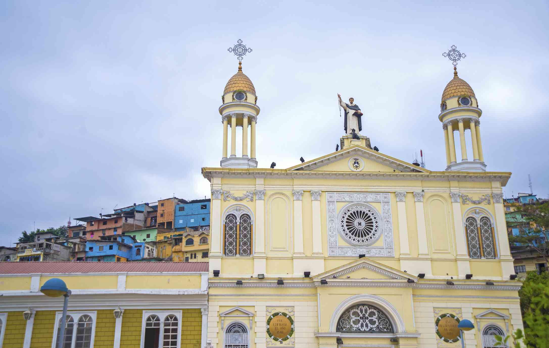 Facade of the Santo Domingo church in Guayaquil city, Ecuador