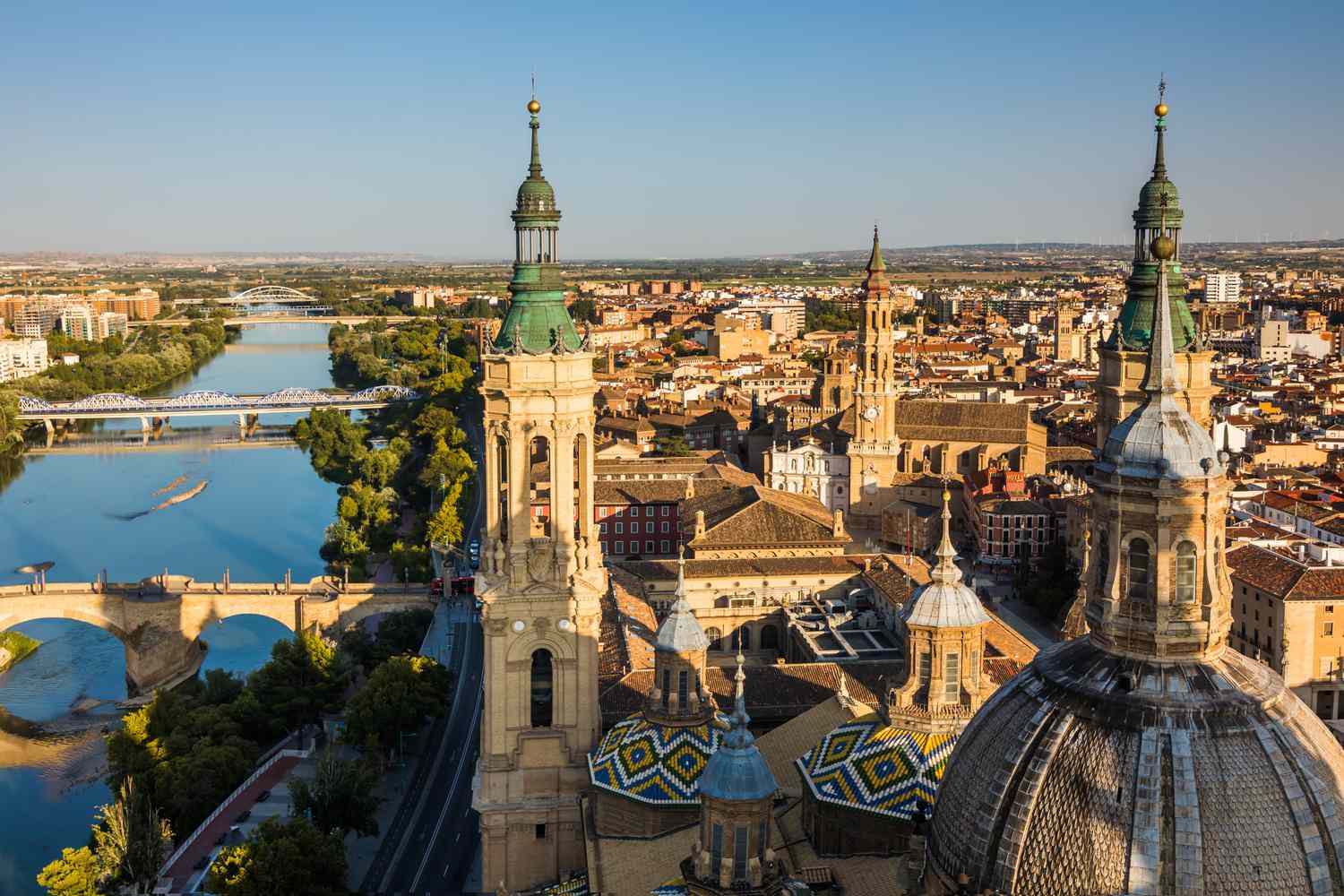 Rooftop view of the Cathedral-Basilica of Our Lady of the Pillar in Zaragoza, Spain