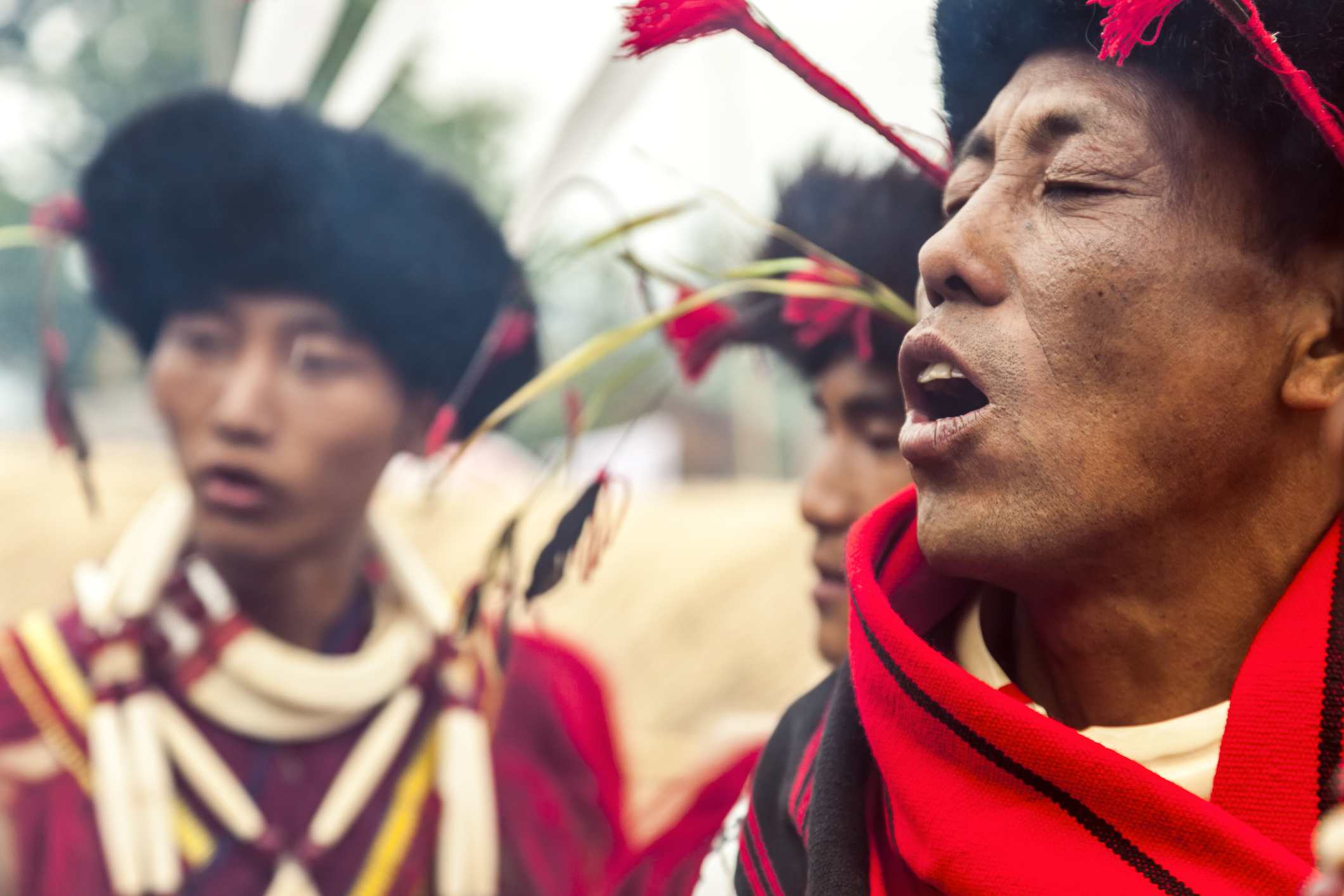 Ao Tribesman Singing, Nagaland.