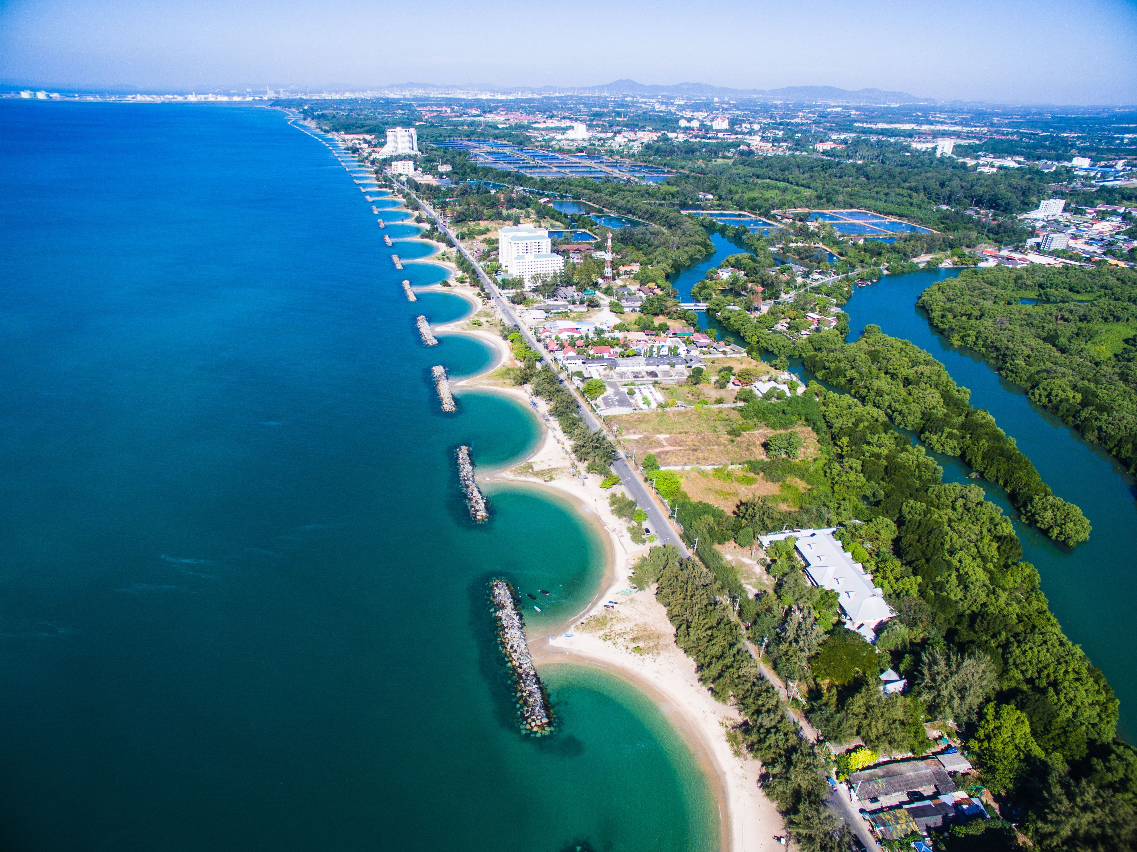 Aerial view of the sawtooth beach in Rayong, Thailand