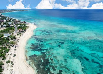 Aerial view of Grand Turk island and turquoise waters