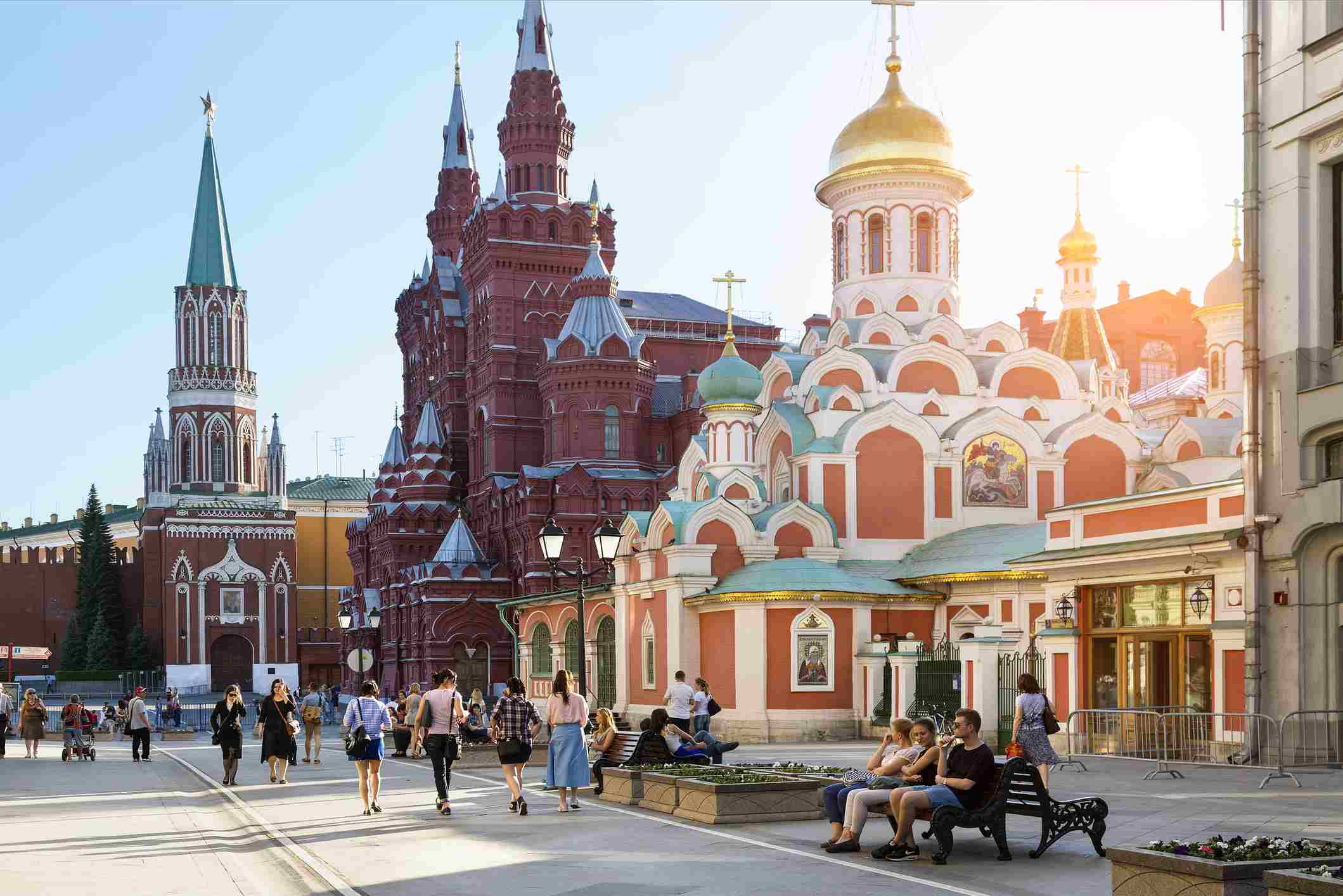 Pedestrian street on the Red Square listed as World Heritage by UNESCO