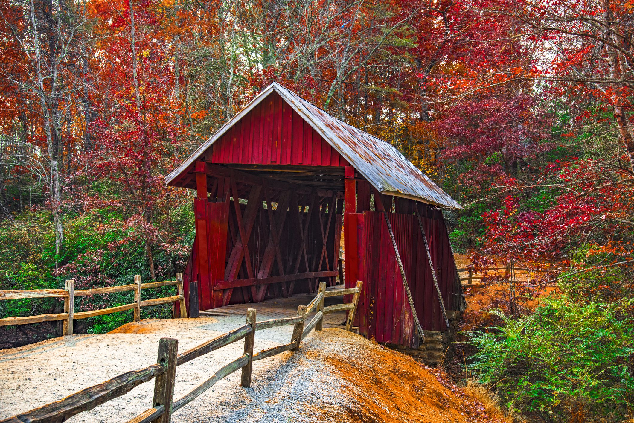 Campbells Covered Bridge with Autumn Fall Colors Landrum Greenville South Carolina
