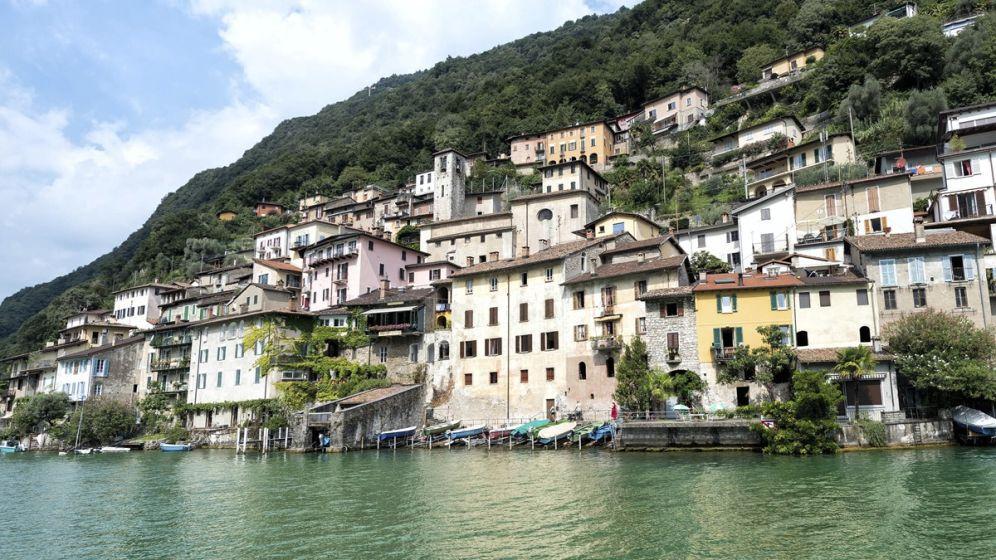 A town on Lake Lugano