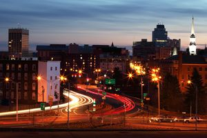 Downtown Worcester, MA skyline at night