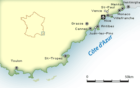 Côte d'Azur map showing the best cities and villages to visit on the French Riviera.