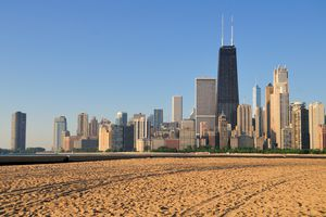 North Avenue beach with the skyline in the background