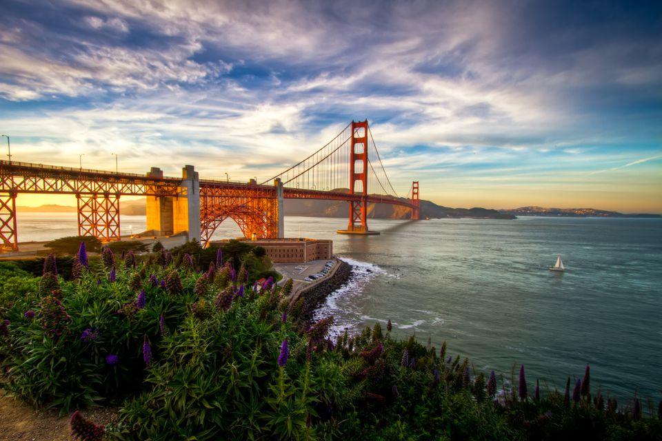 Golden Gate Bridge At Sunset In Summer