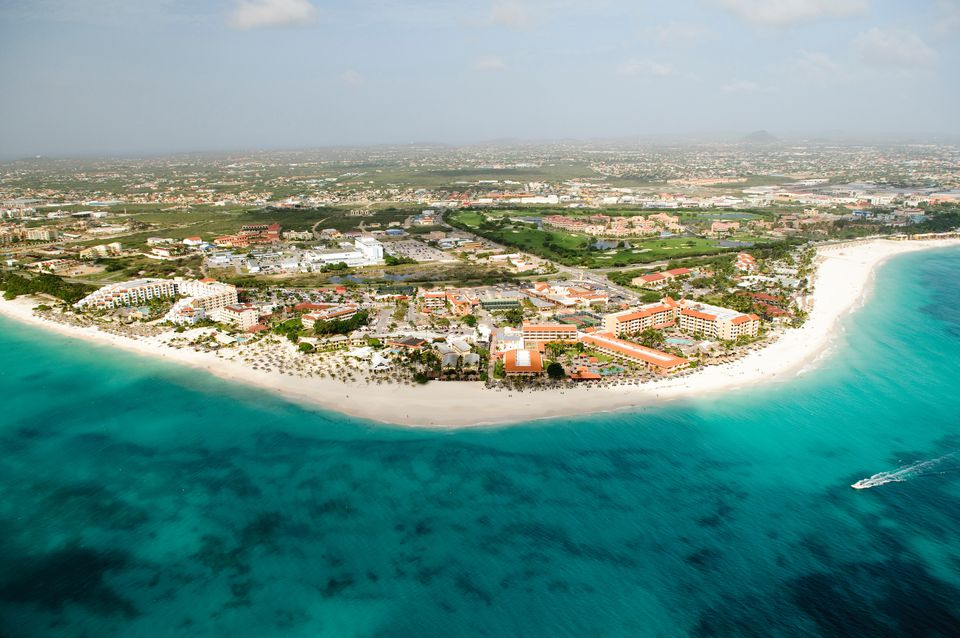 Aerial view of coastline, aruba