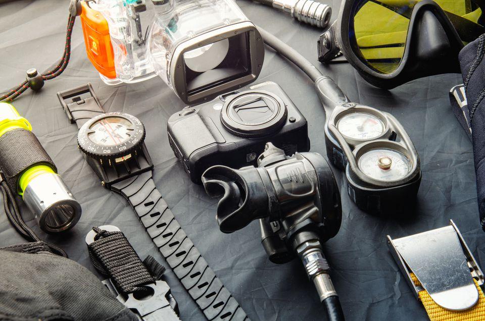 Full Set Of Scuba Diving Equipment. Scuba Gear And Accessories.