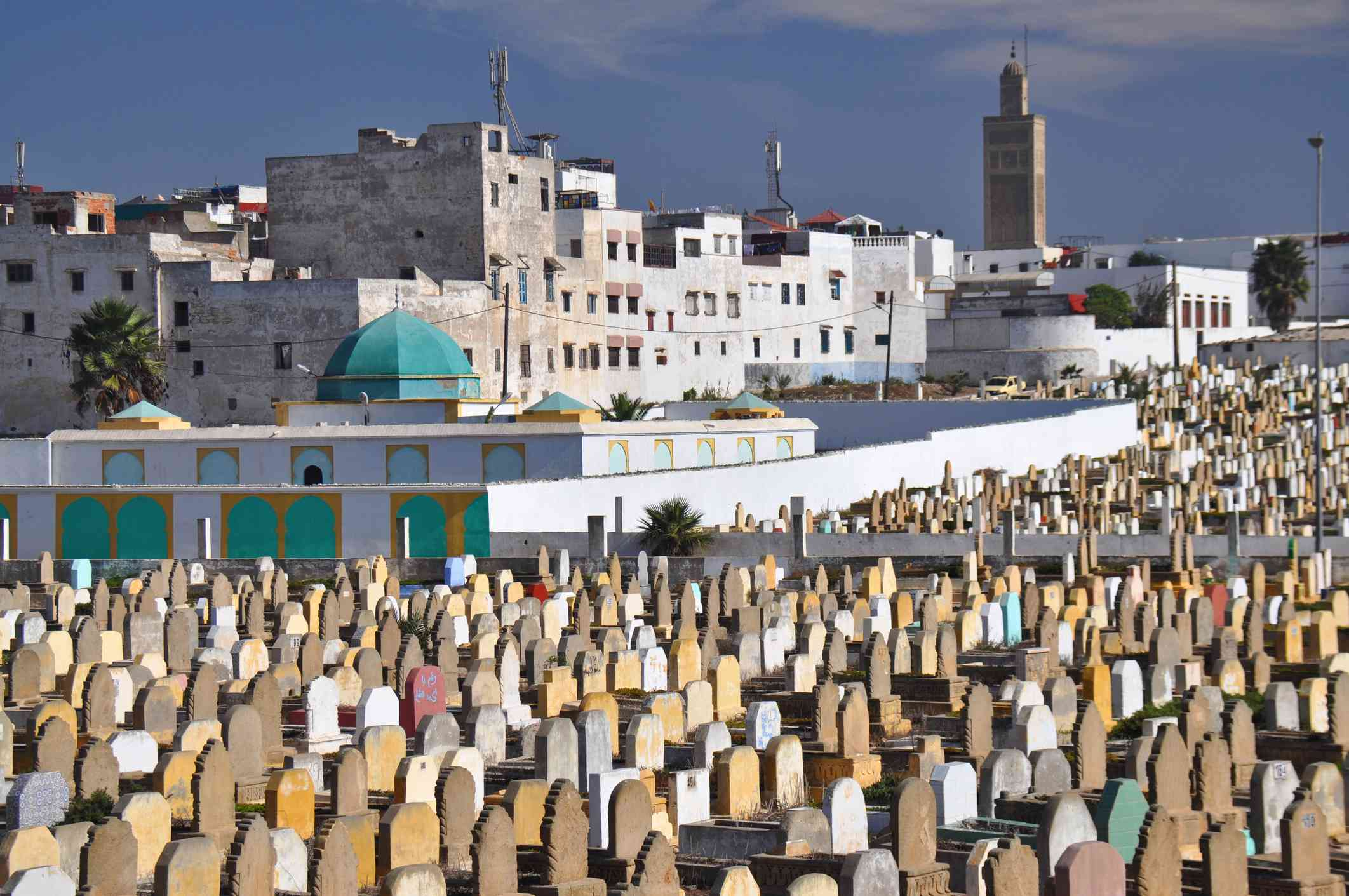 View of Salé city and mosque with graveyard in the foreground