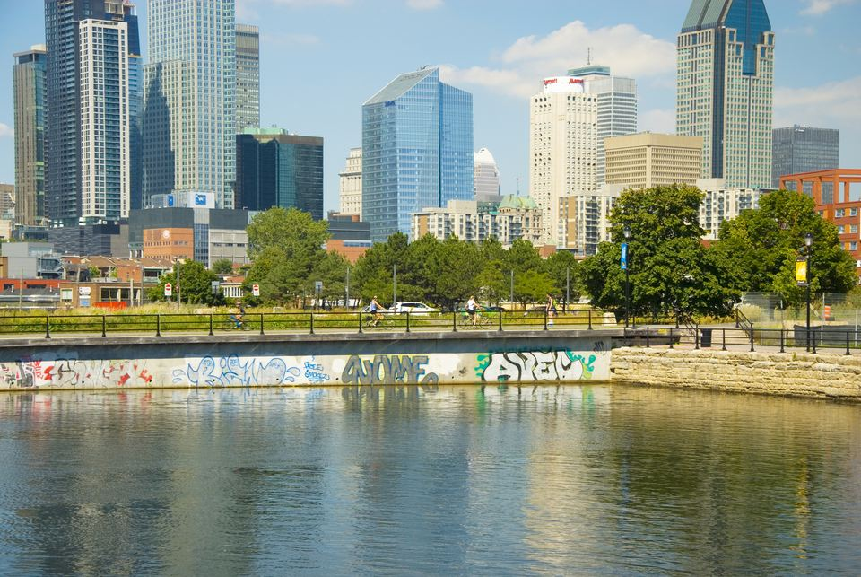 Montreal Skyline at Lachine Canal