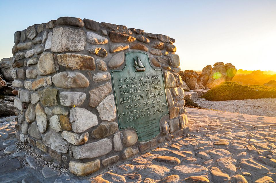 Cairn marking the southernmost tip of Africa at Cape Agulhas, South Africa