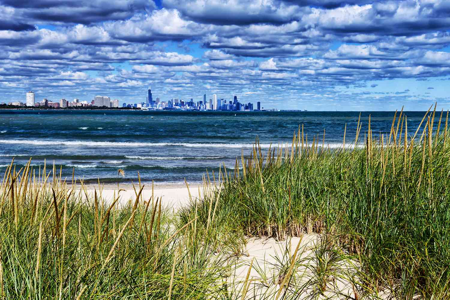 View of the Chicago skyline from South Shore Beach