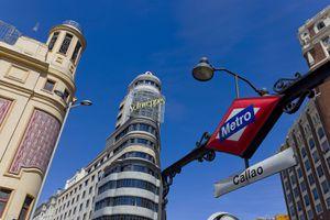 Metro station at Plaza Callao in Madrid