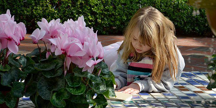 Child in the children's garden at the Missouri Botanical Garden
