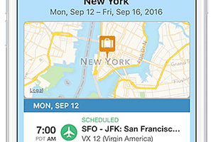 app open on an iphone about flights