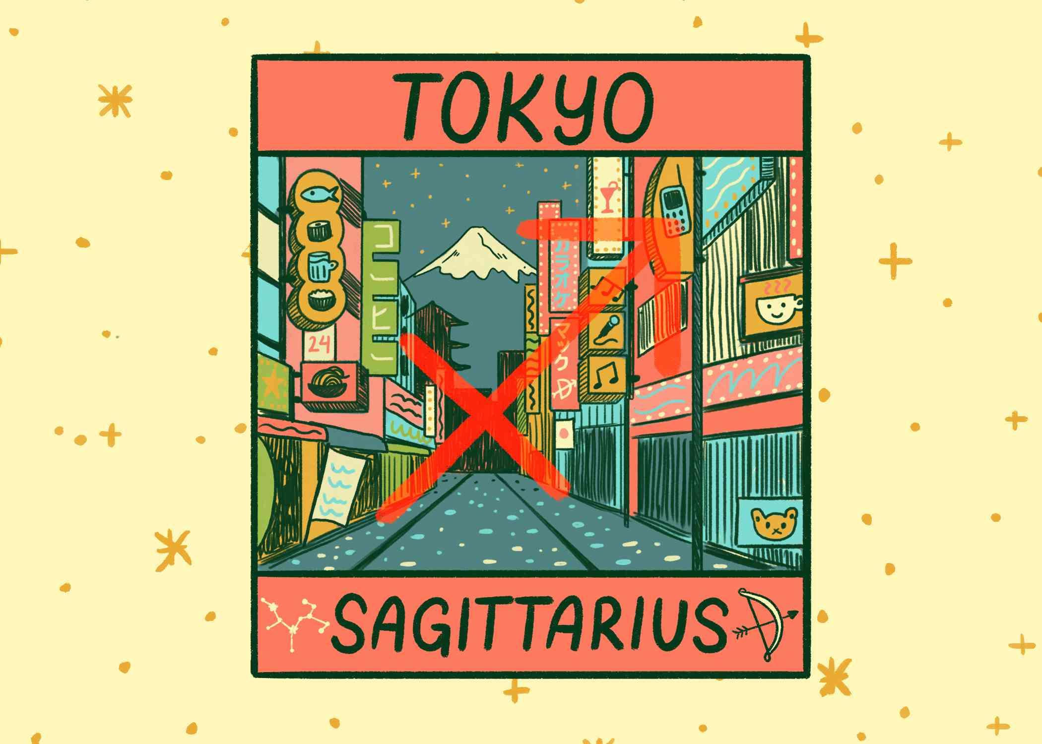 Illustration of Sagittarius and Tokyo