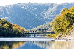 New River Gorge wide canyon water river lake during autumn golden orange foliage in fall by Grandview with peaceful calm tranquil day, closeup of bridge