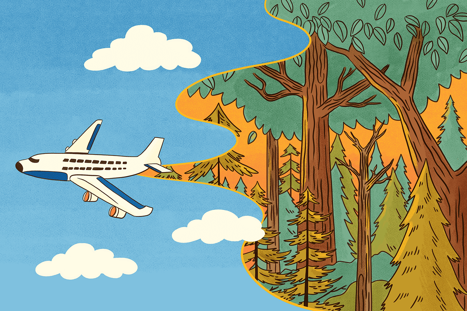 An illustration of a JetBlue plane flying through a sky clearing the way for trees to grow