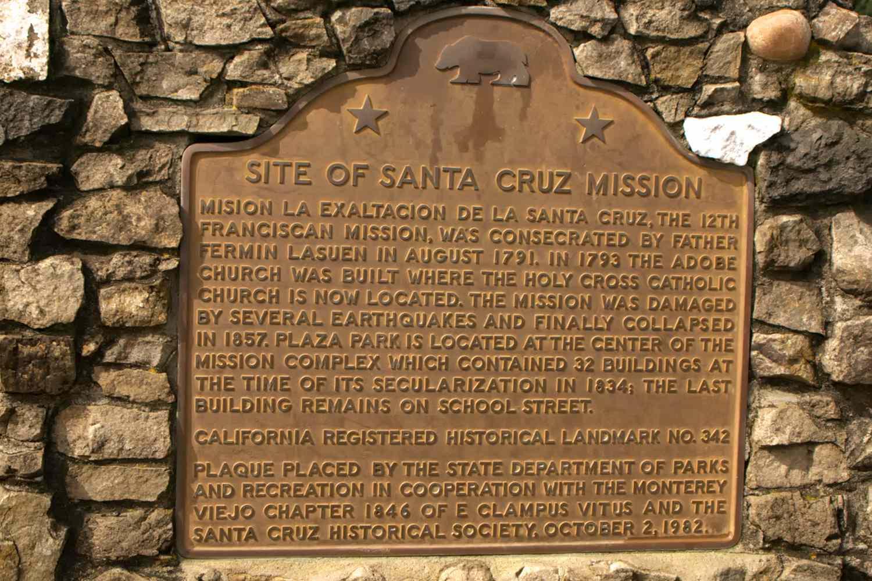 Mission Santa Cruz historic plaque